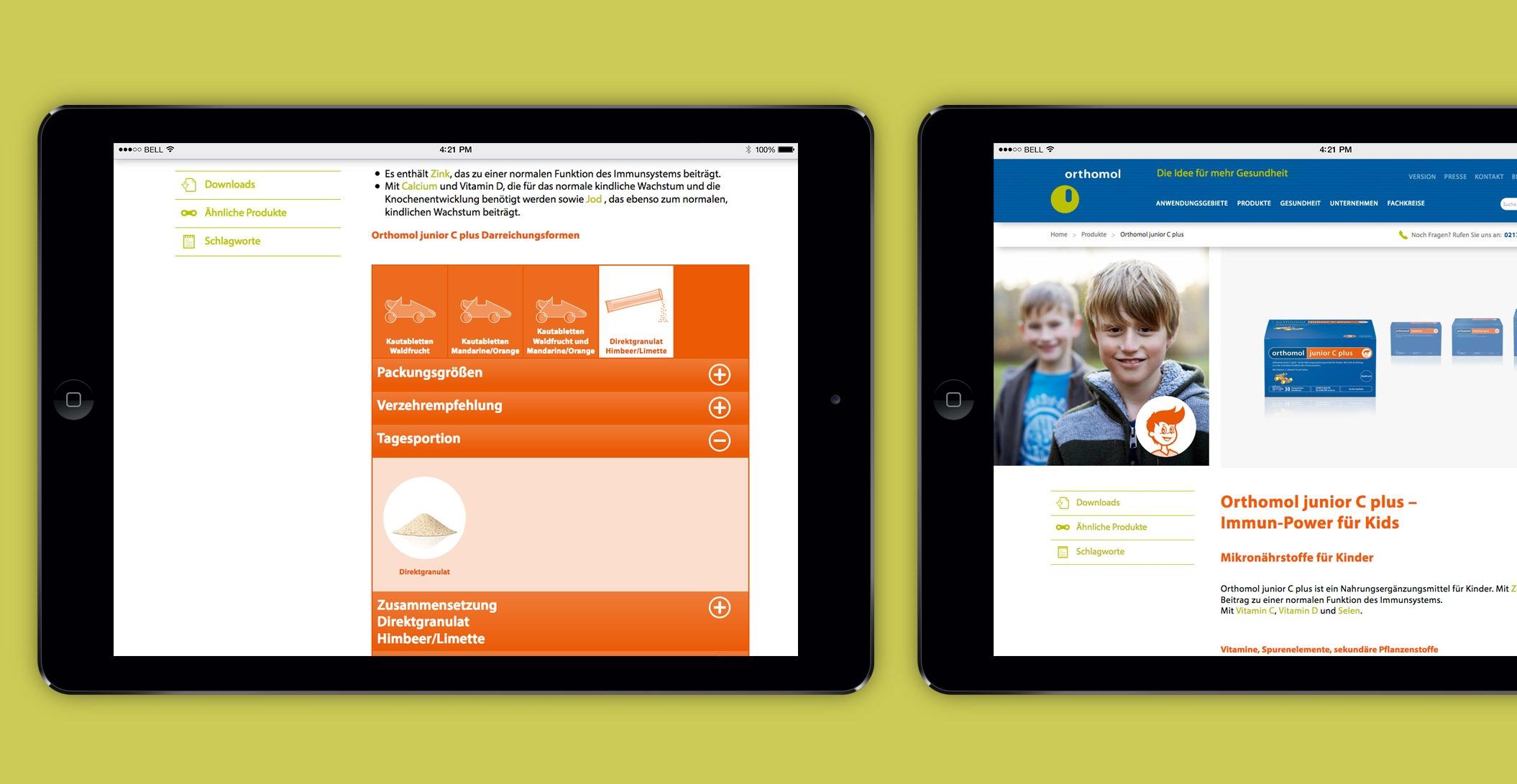 Webdesign: Detail Darreichung, Orthomol Junior Plus – Orthomol. Bereit. Fürs Leben.
