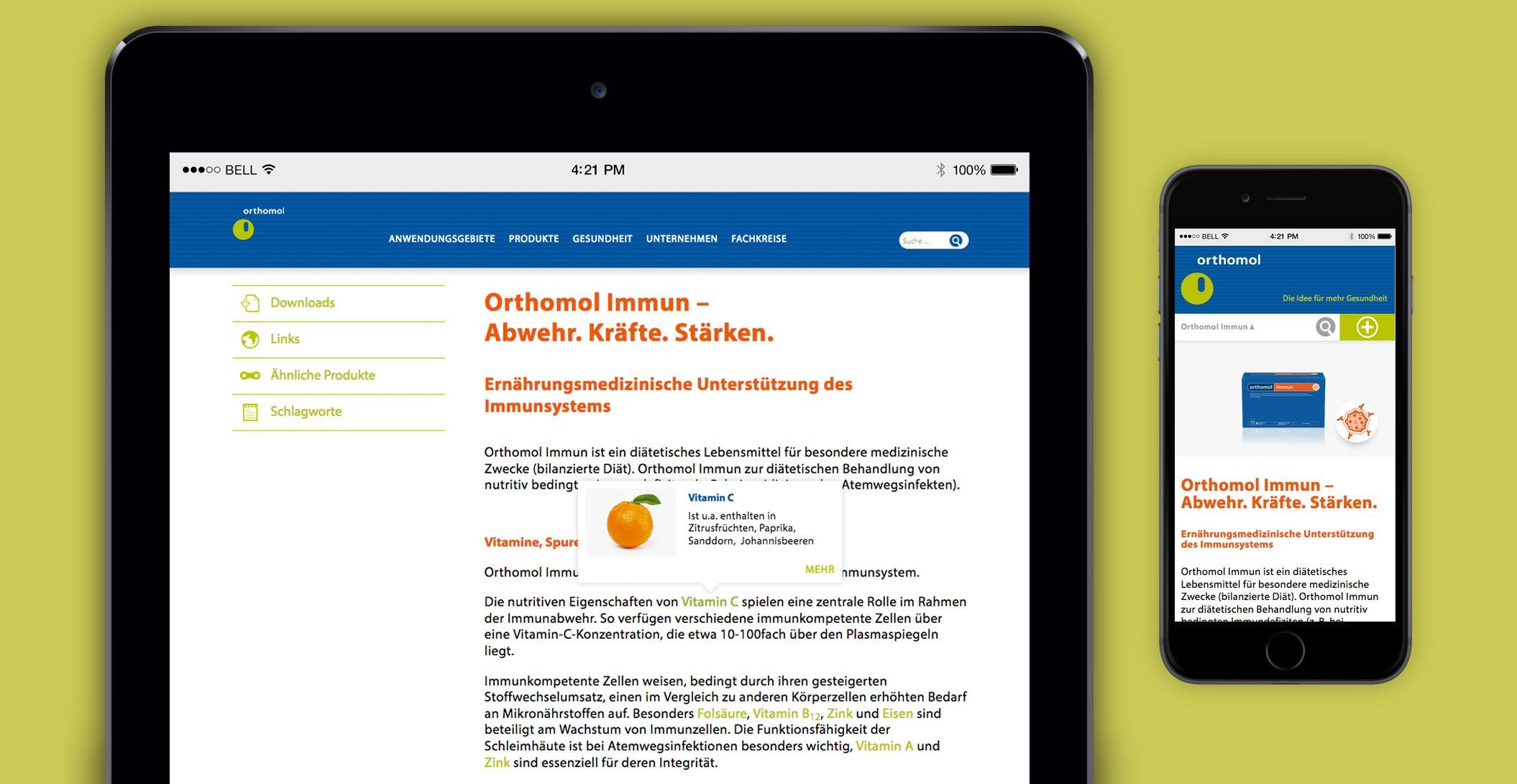 Webdesign: Inline Wiki-Web App, Orthomol Immun – Orthomol. Bereit. Fürs Leben.