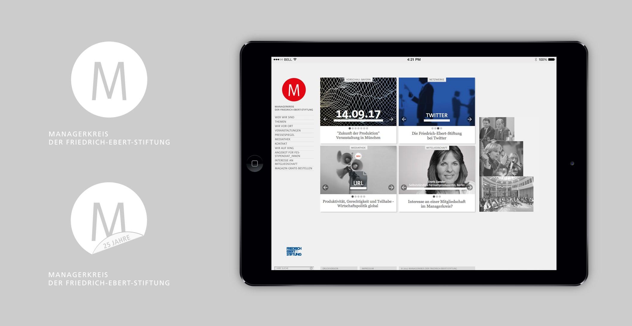 Logo Design, incl. Jubiläumsversion, Website: Startseite – Managerkreis der Friedrich-Ebert-Stiftung