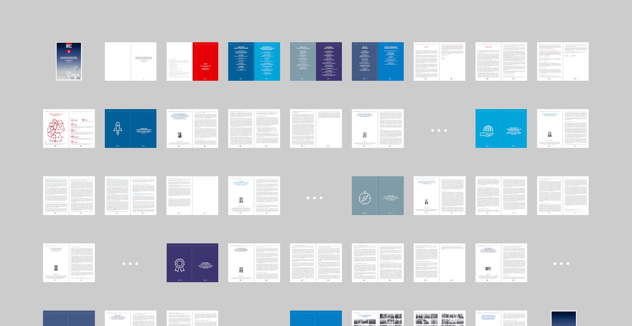 Print Design: Jubiläumspublikation, Seitenspiegel – Managerkreis der Friedrich-Ebert-Stiftung