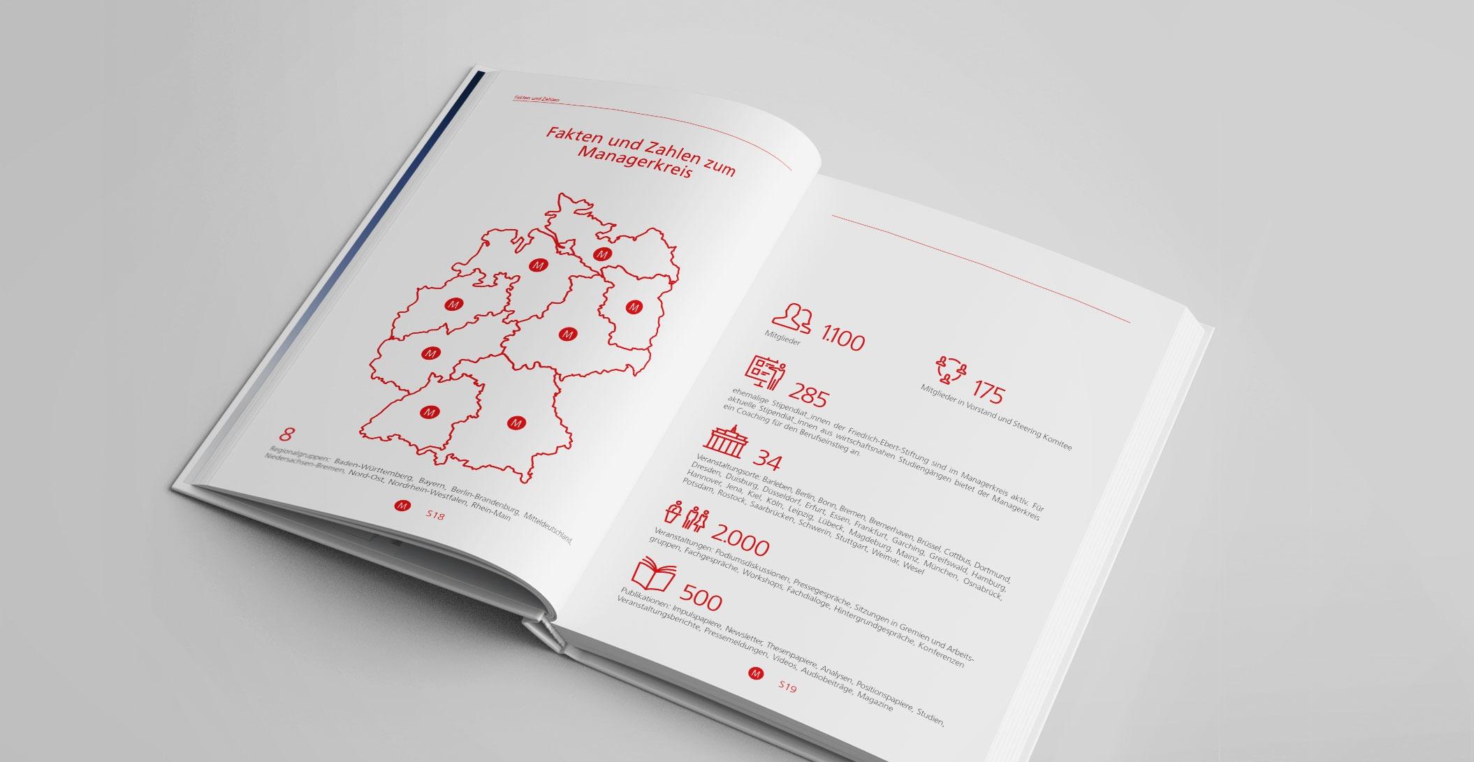 Print Design: Jubiläumspublikation, 300 Seiten – Managerkreis der Friedrich-Ebert-Stiftung