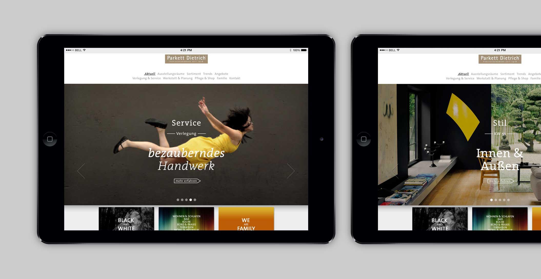 Website: Startseite – diverse Einstiege – Parkett Dietrich, Parkett in seiner schönsten Form