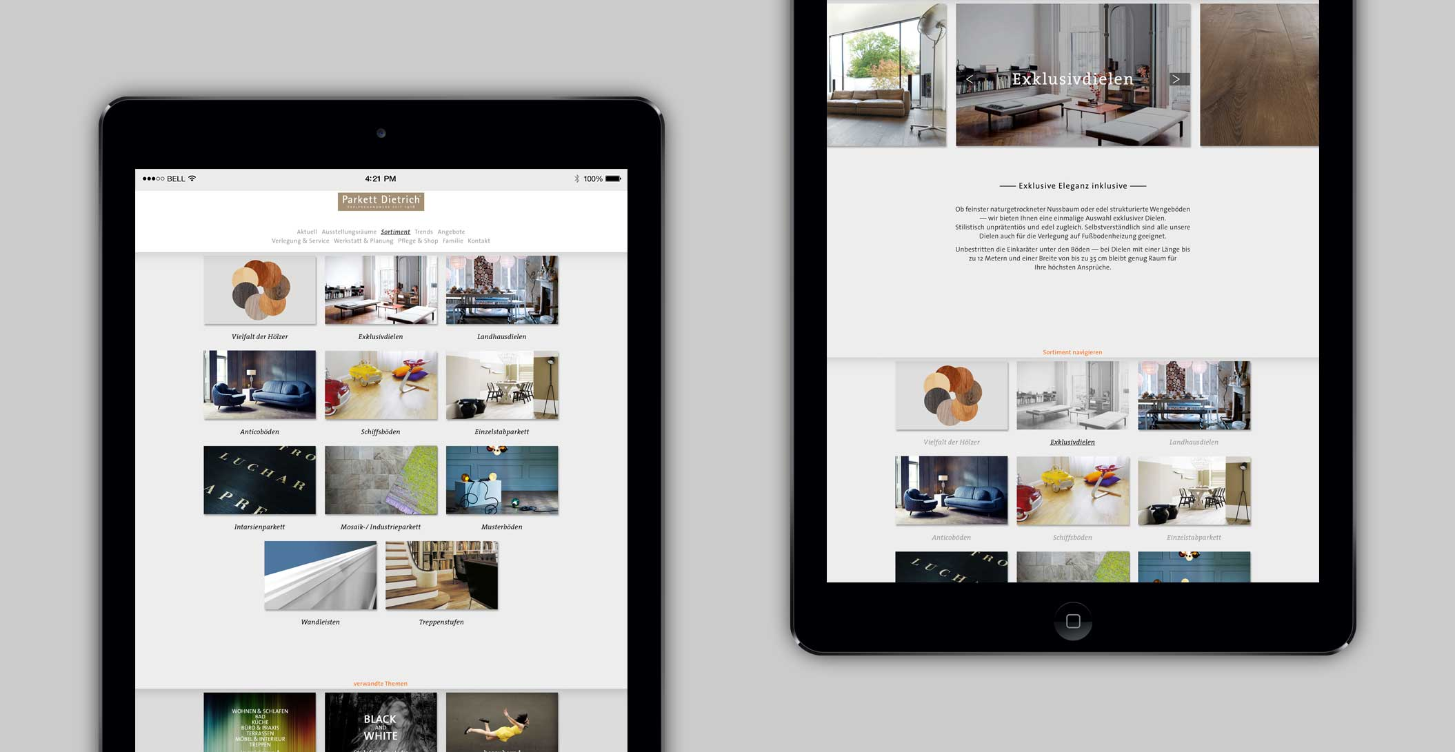 """Website: Sortiment, Detailseite """"Exklusivdielen"""" – Parkett Dietrich, Parkett in seiner schönsten Form"""