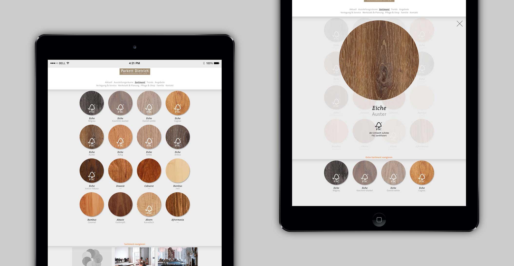 Website: Sortiment: Übersicht Holz – Parkett Dietrich, Parkett in seiner schönsten Form