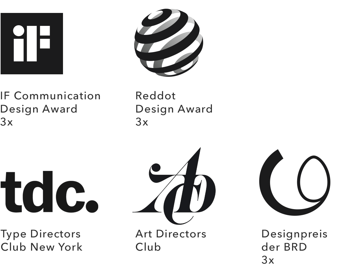 Designpreise Auszeichnungen: Type Directors Club New York, Art Directors Club Germany, IF Design Award, Red Dot Award, Designpreis der Bundesrepublik Deutschland, 100 beste Plakate